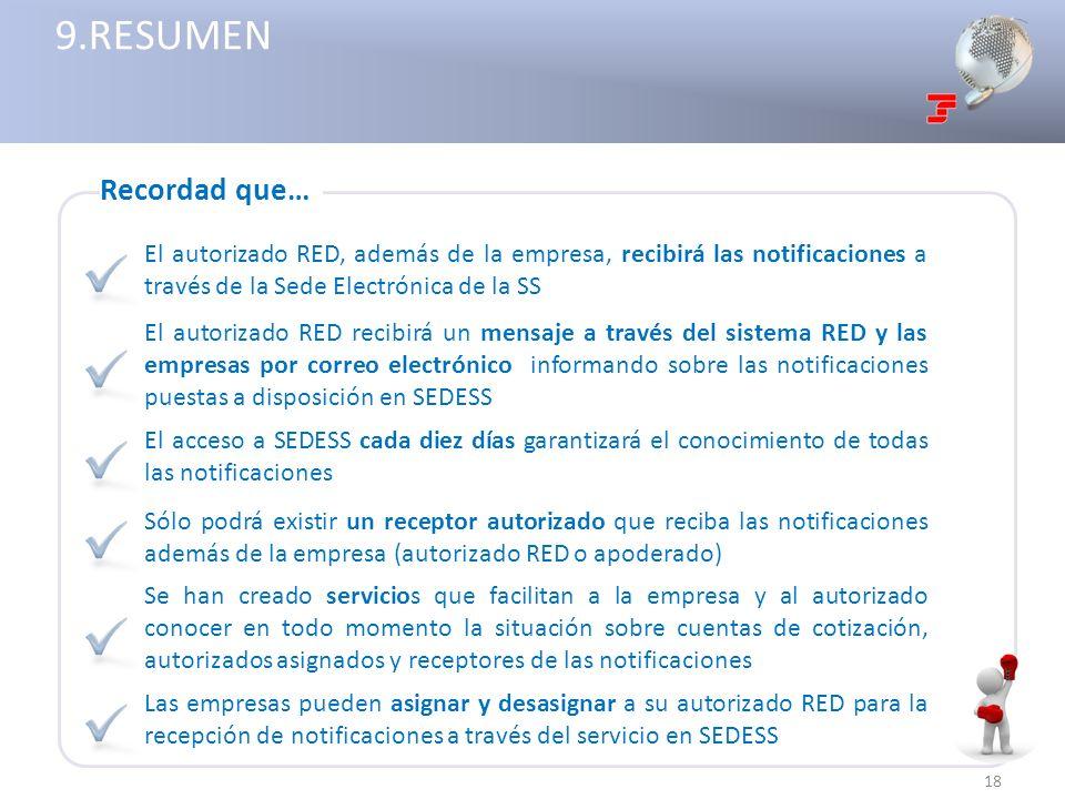 El autorizado RED, además de la empresa, recibirá las notificaciones a través de la Sede Electrónica de la SS 18 El autorizado RED recibirá un mensaje
