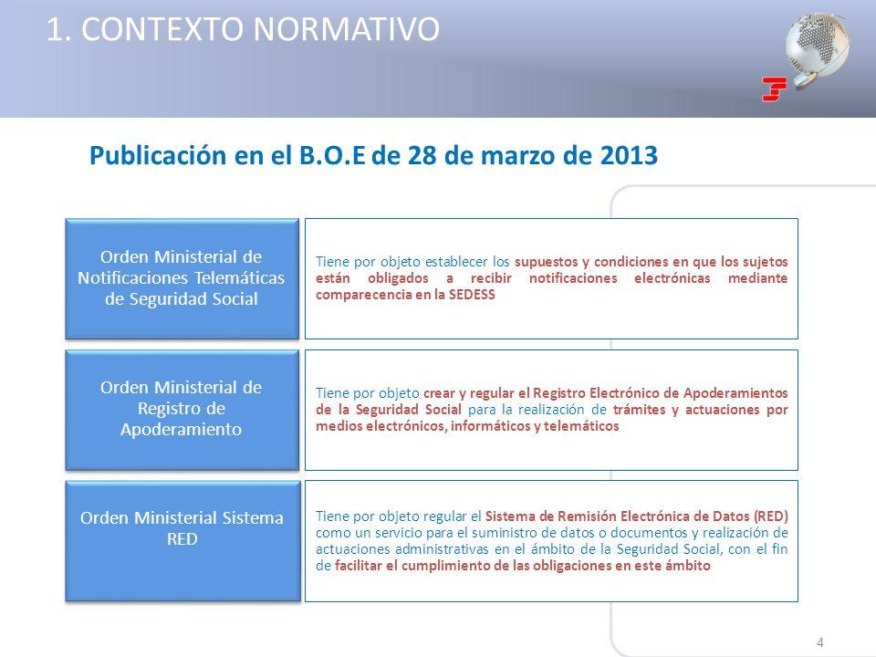 Orden Ministerial de Notificaciones Telemáticas de Seguridad Social Orden Ministerial Sistema RED Orden Ministerial de Registro de Apoderamiento Tiene