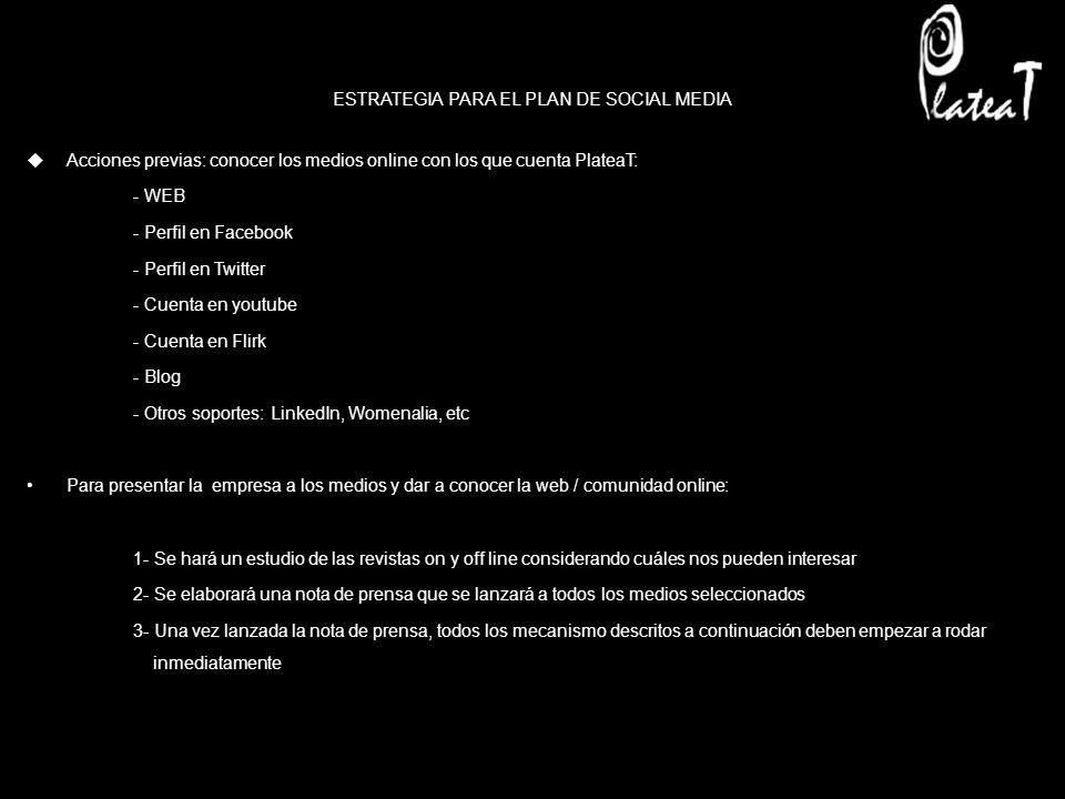ESTRATEGIA PARA EL PLAN DE SOCIAL MEDIA Acciones previas: conocer los medios online con los que cuenta PlateaT: - WEB - Perfil en Facebook - Perfil en