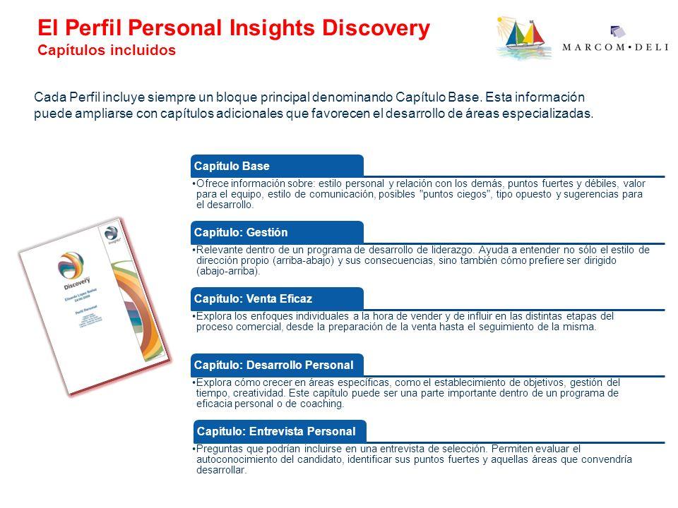 El Perfil Personal Insights Discovery Capítulos incluidos Capítulo Base Ofrece información sobre: estilo personal y relación con los demás, puntos fue