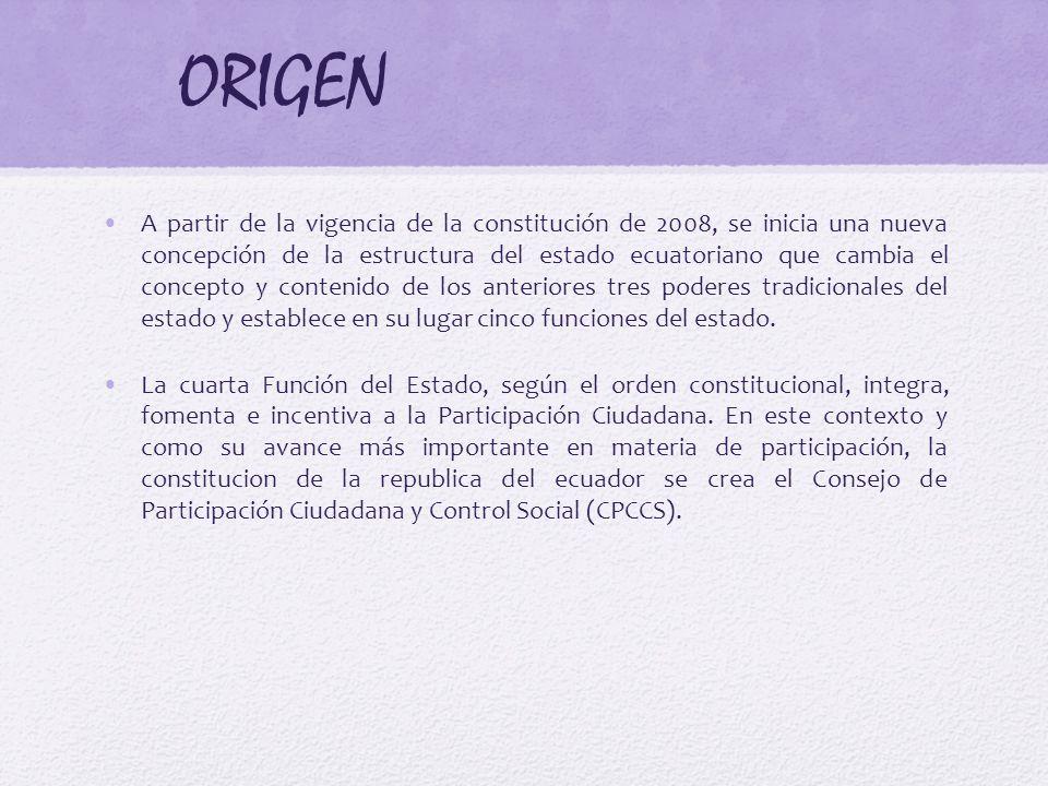ORIGEN A partir de la vigencia de la constitución de 2008, se inicia una nueva concepción de la estructura del estado ecuatoriano que cambia el concep