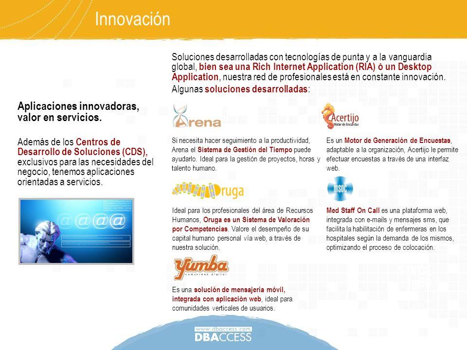 Aplicaciones innovadoras, valor en servicios. Además de los Centros de Desarrollo de Soluciones (CDS), exclusivos para las necesidades del negocio, te