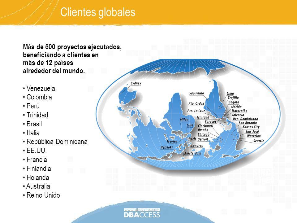 Más de 500 proyectos ejecutados, beneficiando a clientes en más de 12 países alrededor del mundo. Clientes globales Venezuela Colombia Perú Trinidad B