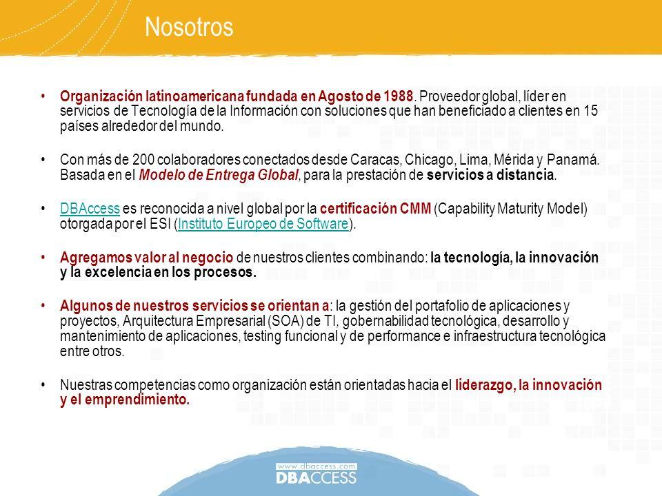 Nosotros Organización latinoamericana fundada en Agosto de 1988. Proveedor global, líder en servicios de Tecnología de la Información con soluciones q