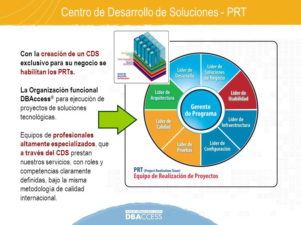 Centro de Desarrollo de Soluciones - PRT Con la creación de un CDS exclusivo para su negocio se habilitan los PRTs. La Organización funcional DBAccess