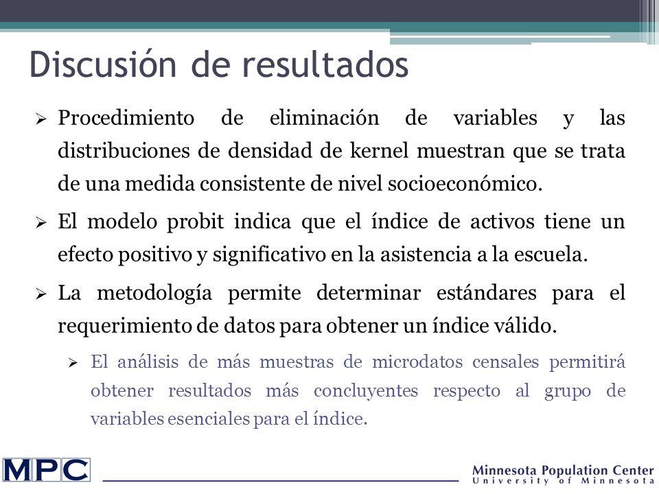 Discusión de resultados Procedimiento de eliminación de variables y las distribuciones de densidad de kernel muestran que se trata de una medida consistente de nivel socioeconómico.
