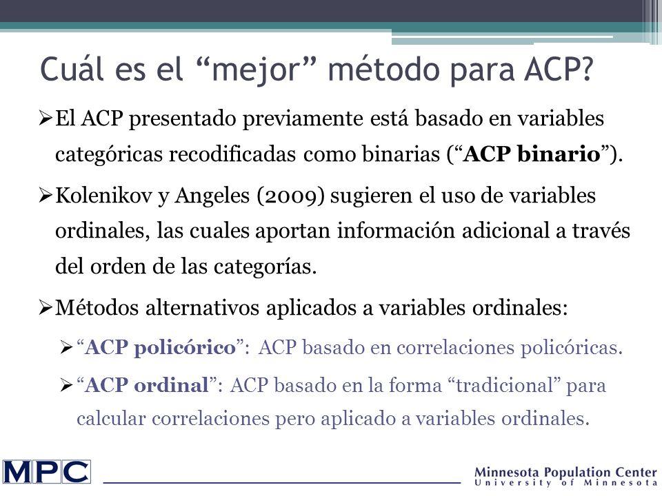 Cuál es el mejor método para ACP.