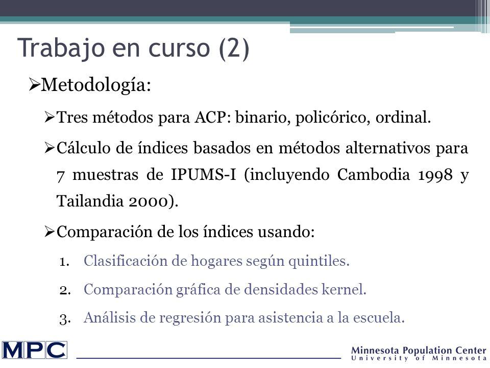 Trabajo en curso (2) Metodología: Tres métodos para ACP: binario, policórico, ordinal.