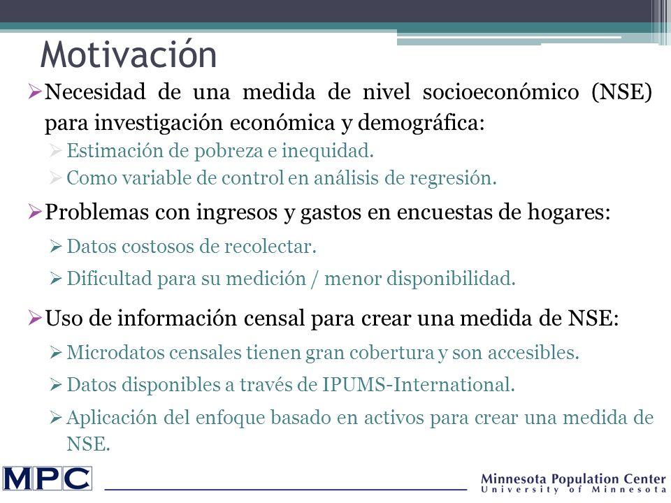 Motivación Necesidad de una medida de nivel socioeconómico (NSE) para investigación económica y demográfica: Estimación de pobreza e inequidad.