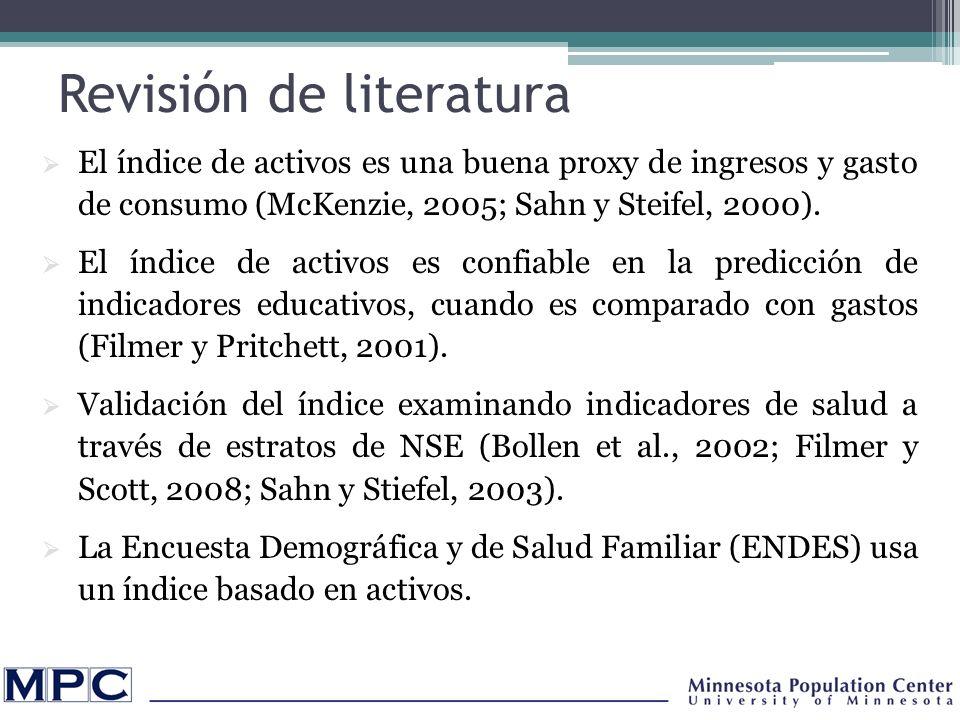 Revisión de literatura El índice de activos es una buena proxy de ingresos y gasto de consumo (McKenzie, 2005; Sahn y Steifel, 2000).