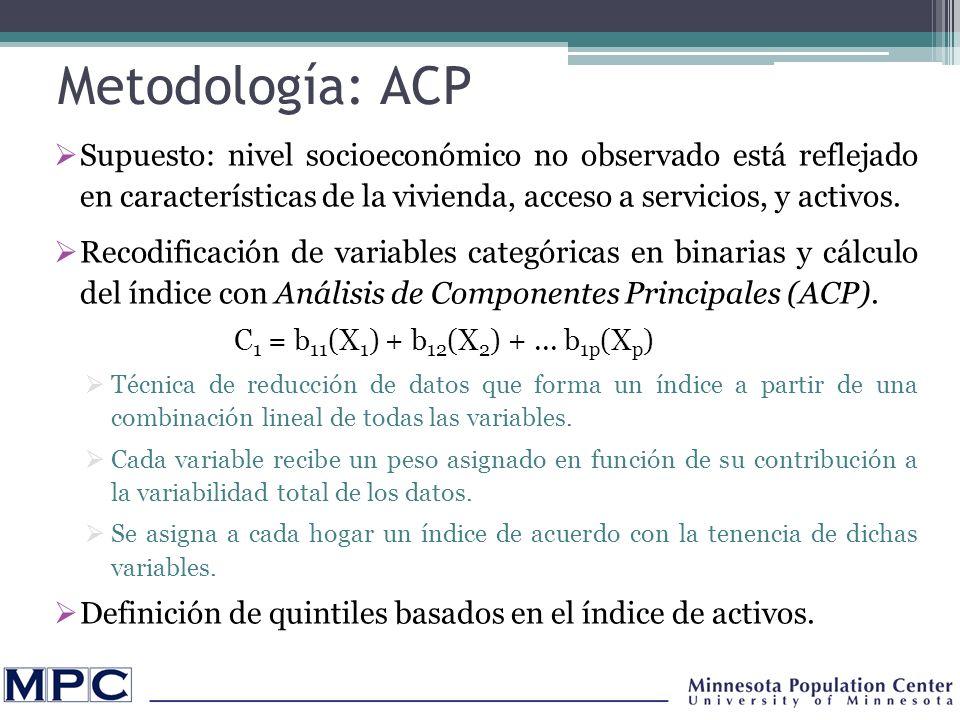Discusión de resultados preliminares ACP policórico y ordinal tienen mayor concordancia en clasificación de hogares por quintiles que el ACP binario.
