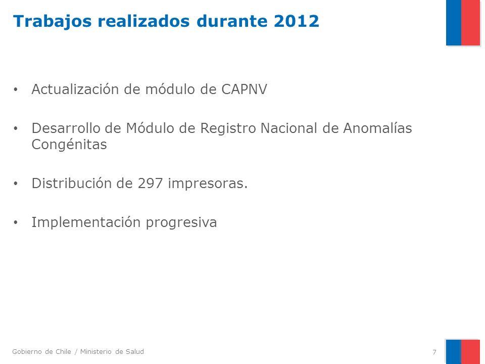 Gobierno de Chile / Ministerio de Salud Trabajos realizados durante 2012 Actualización de módulo de CAPNV Desarrollo de Módulo de Registro Nacional de