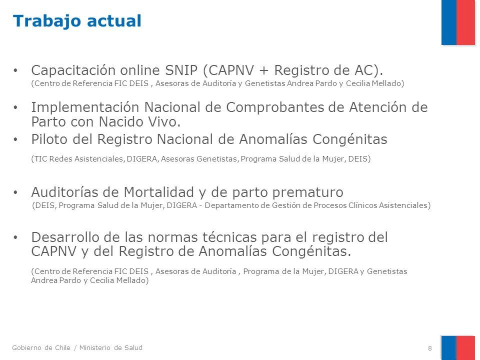 Gobierno de Chile / Ministerio de Salud Curso SNIP on line Certificado por Capacitación MINSAL (Pertenecientes y no pertenecientes) Piloto : 29 de abril– 17 de mayo (Complejo Hospitalario San José) Inicio de inscripciones : 01 de mayo – 20 de mayo Inicio de curso: 22 de mayo – 31 de Julio Módulo I Introducción a las estadísticas vitales Módulo II Registro de CAPNV en el SNIP Modulo IIIImportancia del Registro Nacional de Anomalías congénitas Módulo IVDescripciones de anomalías congénitas (Guía ECLAMC) y Registro en SNIP Nº Horas10 Público objetivo: profesionales médico o matronas de establecimientos, Servicios de Salud y SEREMI que participan de este proceso.