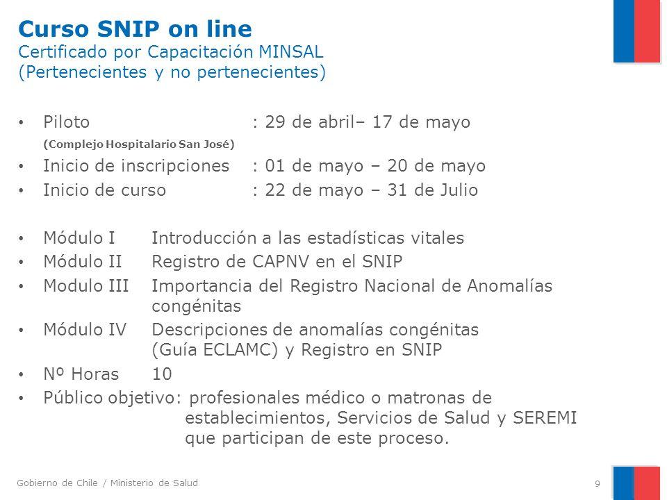 Gobierno de Chile / Ministerio de Salud Curso SNIP on line Certificado por Capacitación MINSAL (Pertenecientes y no pertenecientes) Piloto : 29 de abr