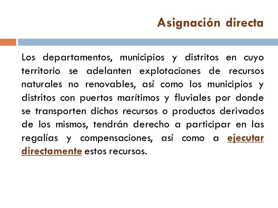 Asignación directa Los departamentos, municipios y distritos en cuyo territorio se adelanten explotaciones de recursos naturales no renovables, así co