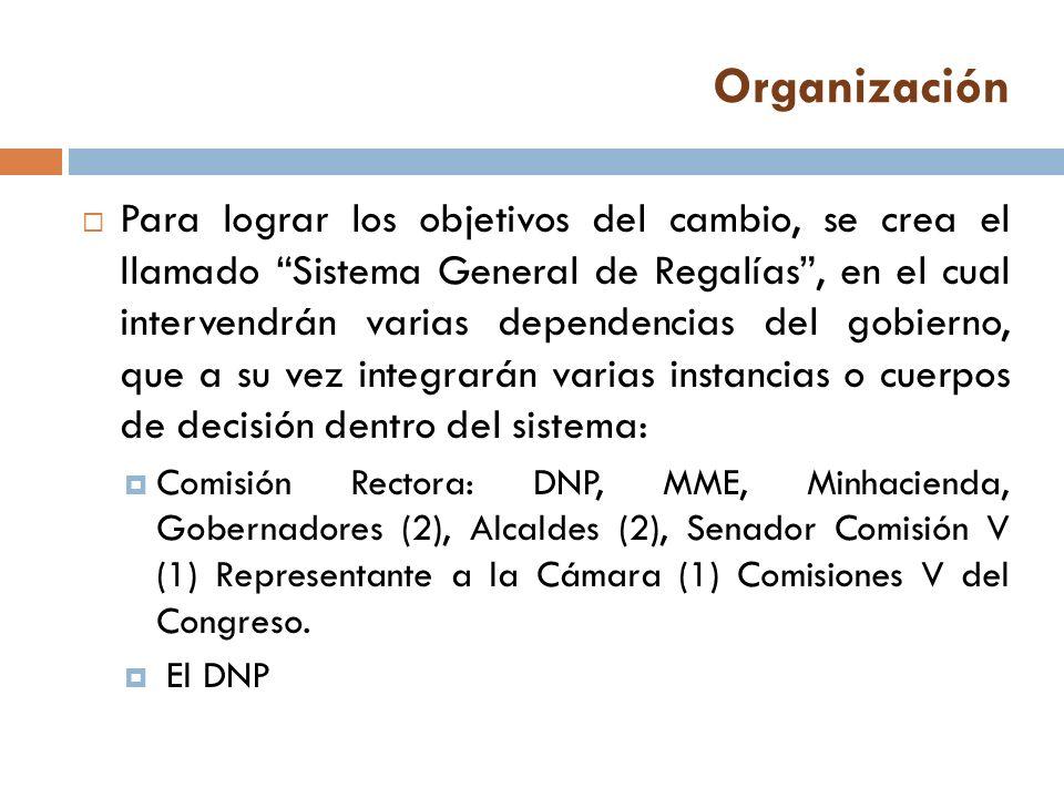 Organización El MME y el Minhacienda Las entidades adscritas y vinculadas a los ministerios con funciones en el ciclo de las regalías COLCIENCIAS Los órganos colegiados de administración y decisión: Pendientes de reglamento.