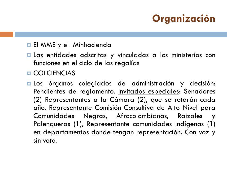 Organización El MME y el Minhacienda Las entidades adscritas y vinculadas a los ministerios con funciones en el ciclo de las regalías COLCIENCIAS Los