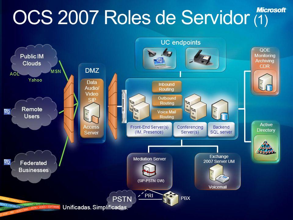 Unificadas. Simplificadas. OCS 2007 Roles de Servidor (2)