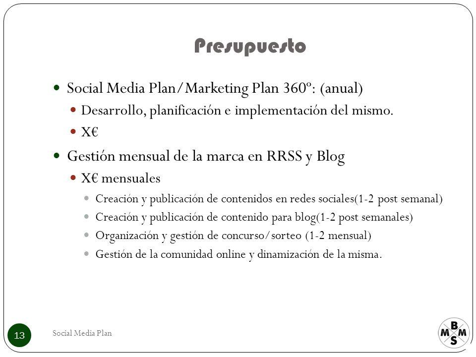 Presupuesto Social Media Plan 13 Social Media Plan/Marketing Plan 360º: (anual) Desarrollo, planificación e implementación del mismo. X Gestión mensua