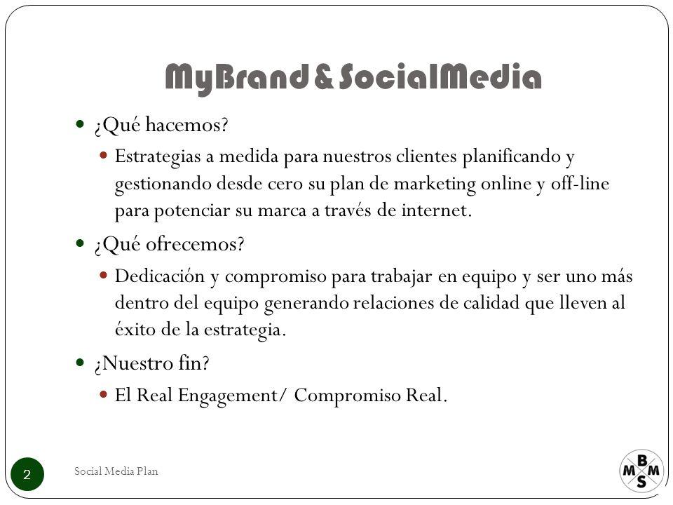 MyBrand&SocialMedia ¿Qué hacemos? Estrategias a medida para nuestros clientes planificando y gestionando desde cero su plan de marketing online y off-