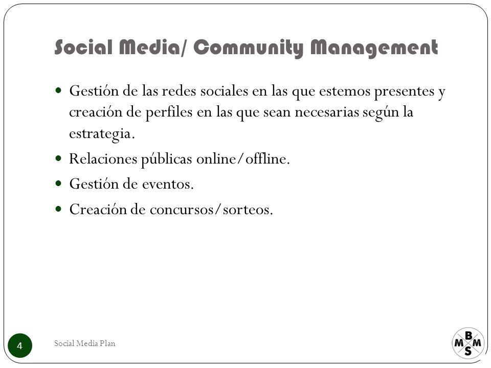 Social Media/ Community Management Social Media Plan 4 Gestión de las redes sociales en las que estemos presentes y creación de perfiles en las que sean necesarias según la estrategia.