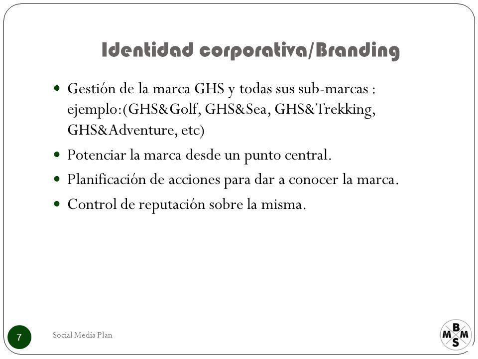 Identidad corporativa/Branding Social Media Plan 7 Gestión de la marca GHS y todas sus sub-marcas : ejemplo:(GHS&Golf, GHS&Sea, GHS&Trekking, GHS&Adventure, etc) Potenciar la marca desde un punto central.
