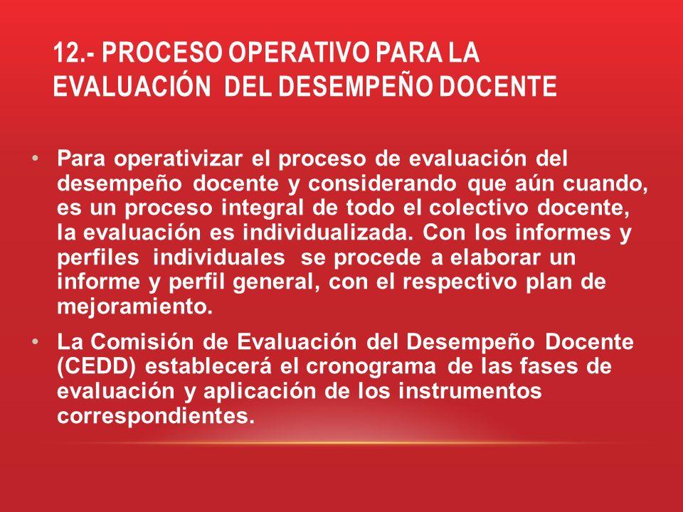 12.- PROCESO OPERATIVO PARA LA EVALUACIÓN DEL DESEMPEÑO DOCENTE Para operativizar el proceso de evaluación del desempeño docente y considerando que aú