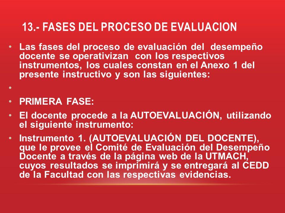 13.- FASES DEL PROCESO DE EVALUACION Las fases del proceso de evaluación del desempeño docente se operativizan con los respectivos instrumentos, los c