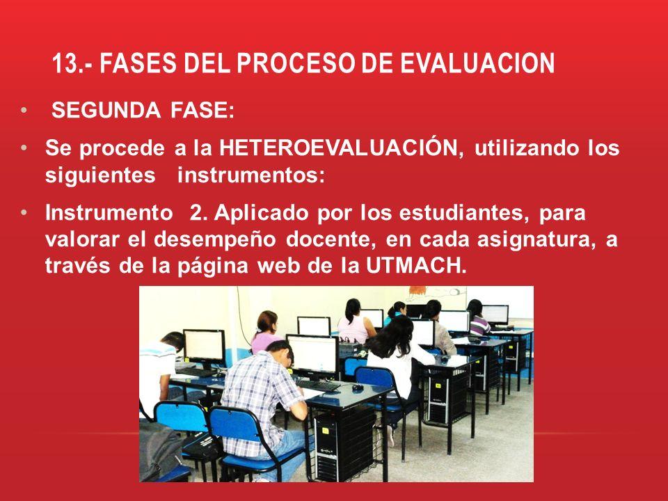 13.- FASES DEL PROCESO DE EVALUACION SEGUNDA FASE: Se procede a la HETEROEVALUACIÓN, utilizando los siguientes instrumentos: Instrumento 2. Aplicado p
