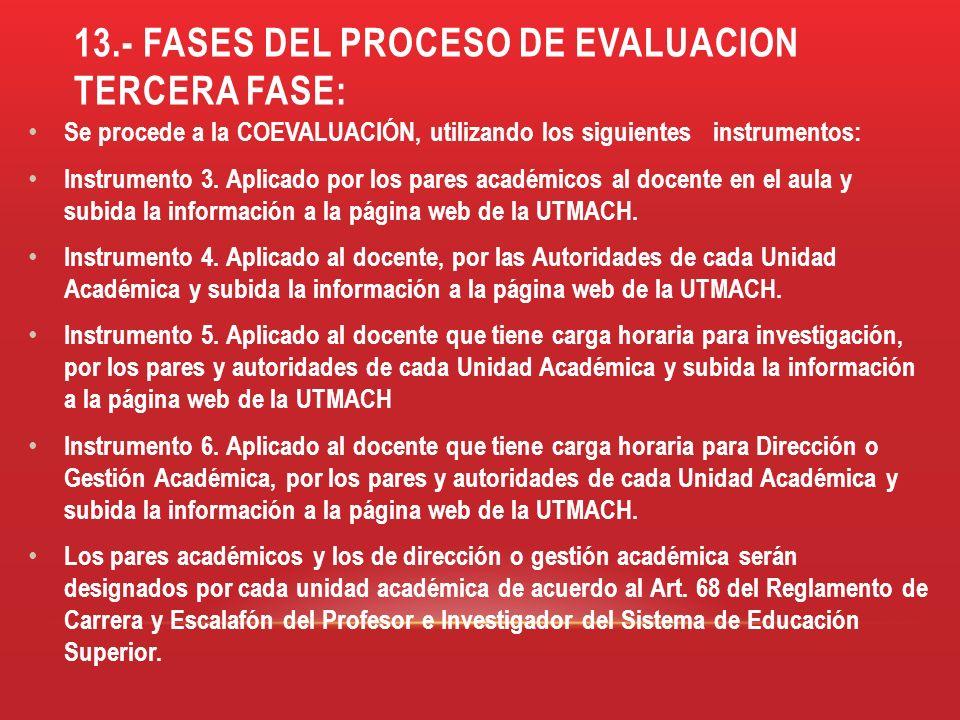 13.- FASES DEL PROCESO DE EVALUACION TERCERA FASE: Se procede a la COEVALUACIÓN, utilizando los siguientes instrumentos: Instrumento 3. Aplicado por l
