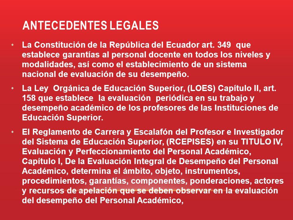 ANTECEDENTES LEGALES La Constitución de la República del Ecuador art. 349 que establece garantías al personal docente en todos los niveles y modalidad