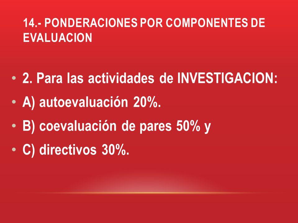 14.- PONDERACIONES POR COMPONENTES DE EVALUACION 2. Para las actividades de INVESTIGACION: A) autoevaluación 20%. B) coevaluación de pares 50% y C) di