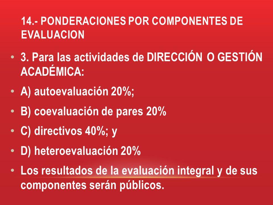 14.- PONDERACIONES POR COMPONENTES DE EVALUACION 3. Para las actividades de DIRECCIÓN O GESTIÓN ACADÉMICA: A) autoevaluación 20%; B) coevaluación de p