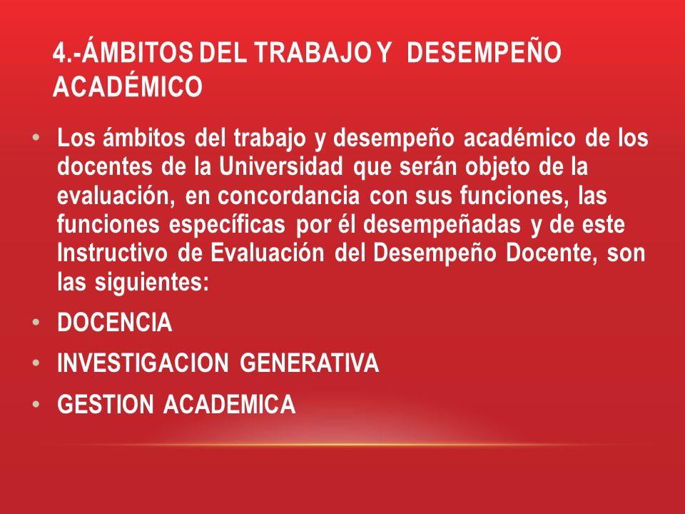 4.-ÁMBITOS DEL TRABAJO Y DESEMPEÑO ACADÉMICO Los ámbitos del trabajo y desempeño académico de los docentes de la Universidad que serán objeto de la ev