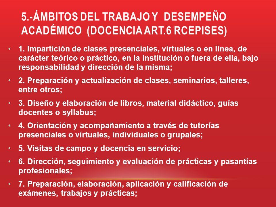 5.-ÁMBITOS DEL TRABAJO Y DESEMPEÑO ACADÉMICO (DOCENCIA ART.6 RCEPISES) 1. Impartición de clases presenciales, virtuales o en línea, de carácter teóric