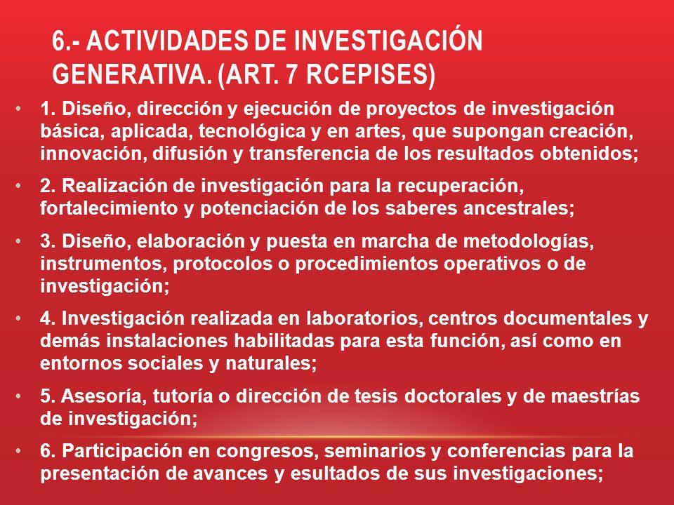 6.- ACTIVIDADES DE INVESTIGACIÓN GENERATIVA. (ART. 7 RCEPISES) 1. Diseño, dirección y ejecución de proyectos de investigación básica, aplicada, tecnol