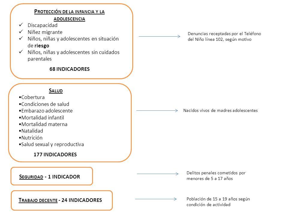P ROTECCIÓN DE LA INFANCIA Y LA ADOLESCENCIA Discapacidad Niñez migrante Niños, niñas y adolescentes en situación de riesgo Niños, niñas y adolescente