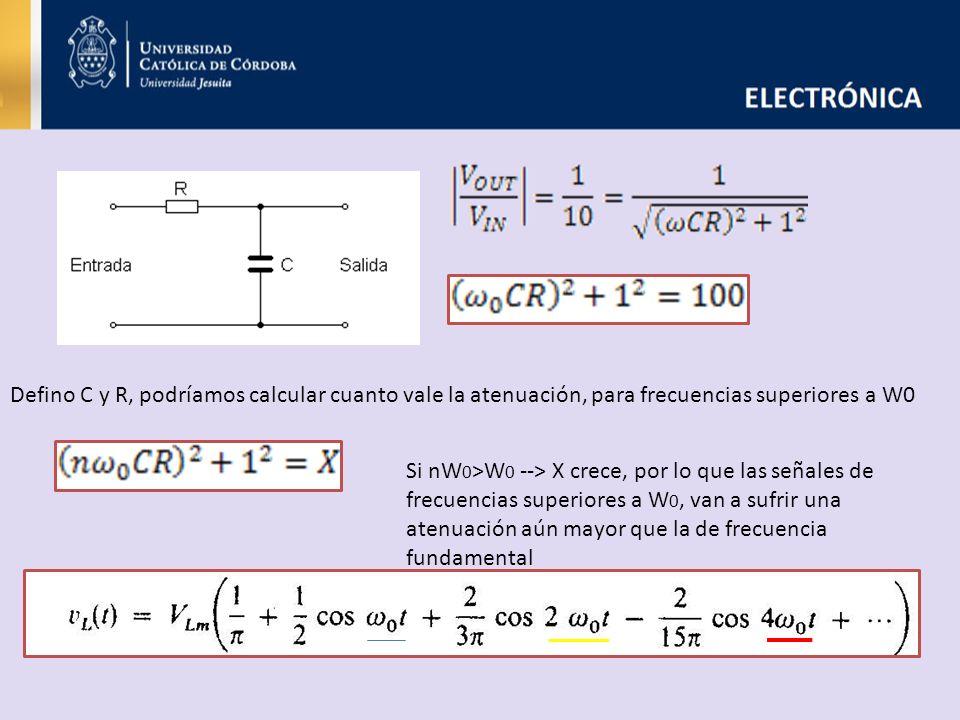 Defino C y R, podríamos calcular cuanto vale la atenuación, para frecuencias superiores a W0 Si nW 0 >W 0 --> X crece, por lo que las señales de frecu
