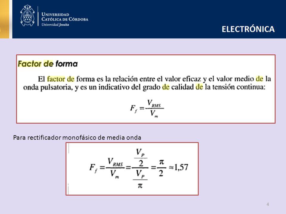 4 Para rectificador monofásico de media onda