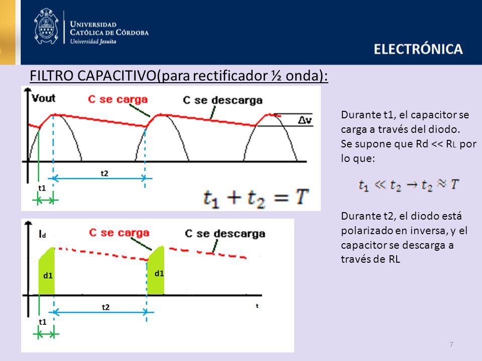 7 FILTRO CAPACITIVO(para rectificador ½ onda): Durante t1, el capacitor se carga a través del diodo. Se supone que Rd << R L por lo que: Durante t2, e
