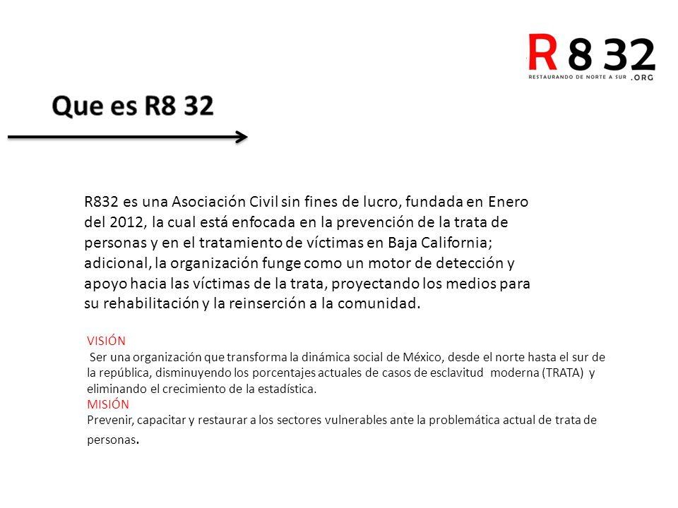 R832 es una Asociación Civil sin fines de lucro, fundada en Enero del 2012, la cual está enfocada en la prevención de la trata de personas y en el tratamiento de víctimas en Baja California; adicional, la organización funge como un motor de detección y apoyo hacia las víctimas de la trata, proyectando los medios para su rehabilitación y la reinserción a la comunidad.