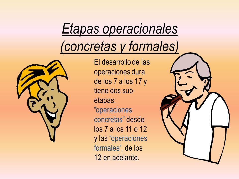 Etapas operacionales (concretas y formales) El desarrollo de las operaciones dura de los 7 a los 17 y tiene dos sub- etapas: operaciones concretas des