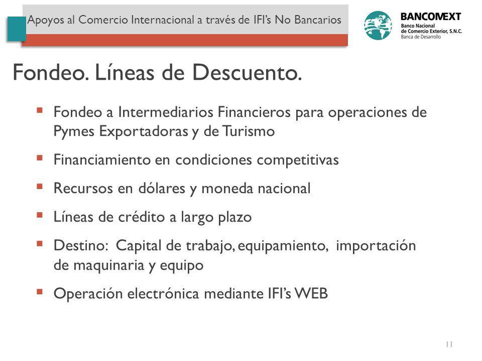 Fondeo. Líneas de Descuento. Apoyos al Comercio Internacional a través de IFIs No Bancarios Fondeo a Intermediarios Financieros para operaciones de Py