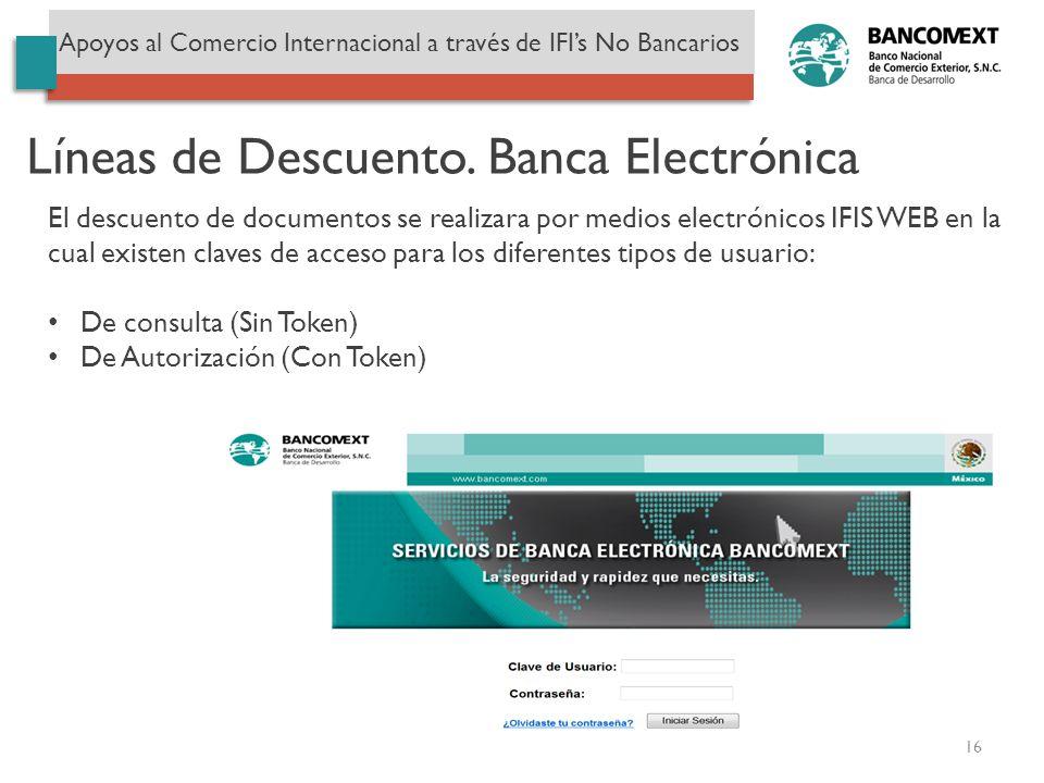 Líneas de Descuento. Banca Electrónica Apoyos al Comercio Internacional a través de IFIs No Bancarios El descuento de documentos se realizara por medi