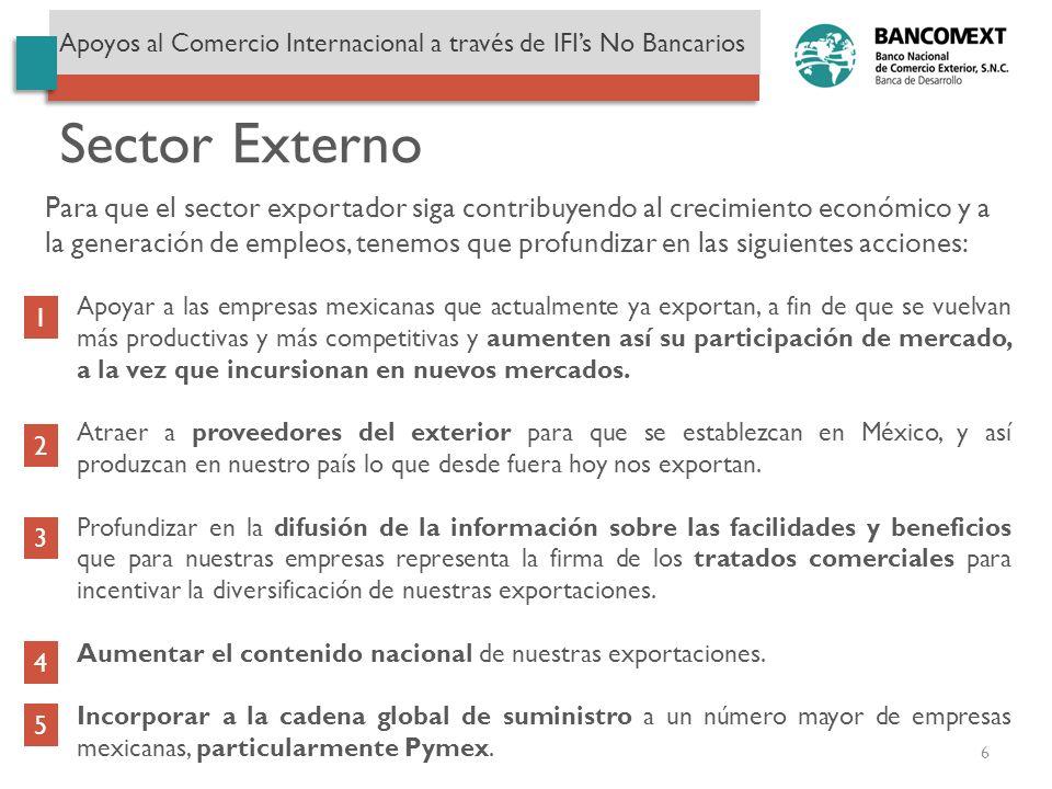 Apoyar a las empresas mexicanas que actualmente ya exportan, a fin de que se vuelvan más productivas y más competitivas y aumenten así su participació