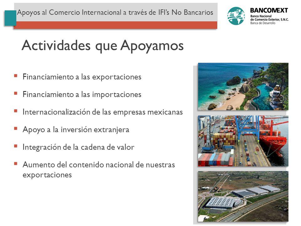Financiamiento a las exportaciones Financiamiento a las importaciones Internacionalización de las empresas mexicanas Apoyo a la inversión extranjera I