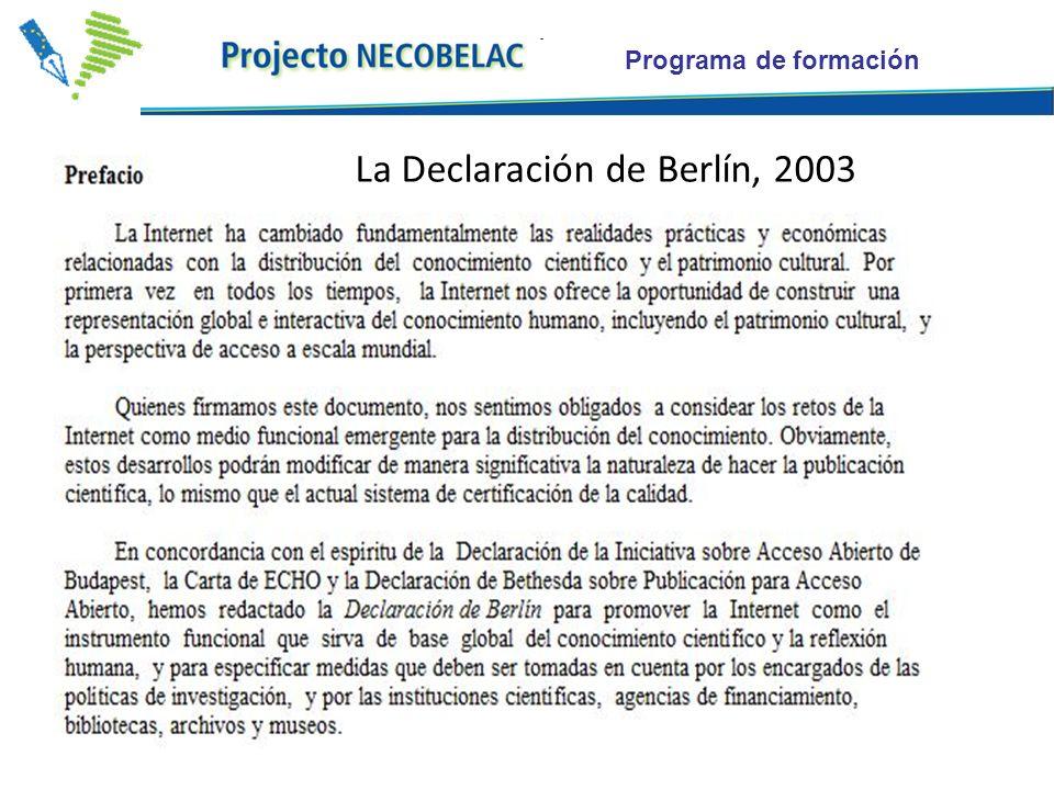 Programa de formación La Declaración de Berlín, 2003