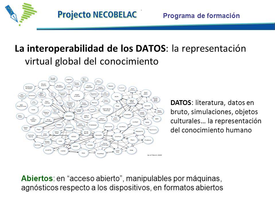 La interoperabilidad de los DATOS: la representación virtual global del conocimiento DATOS: literatura, datos en bruto, simulaciones, objetos culturales… la representación del conocimiento humano Abiertos: en acceso abierto, manipulables por máquinas, agnósticos respecto a los dispositivos, en formatos abiertos
