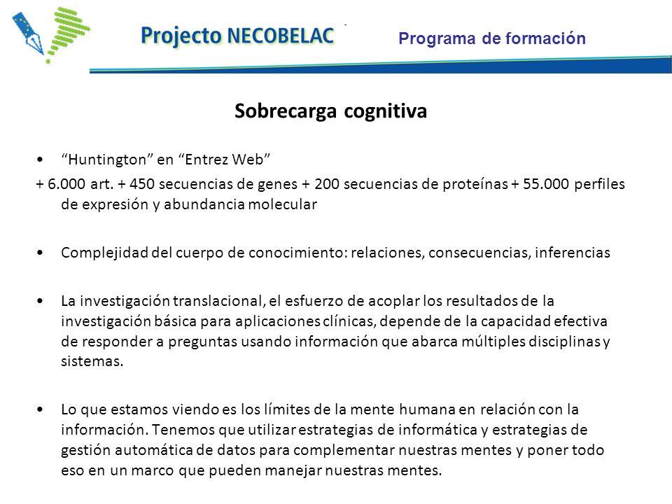 Programa de formación Sobrecarga cognitiva Huntington en Entrez Web + 6.000 art. + 450 secuencias de genes + 200 secuencias de proteínas + 55.000 perf