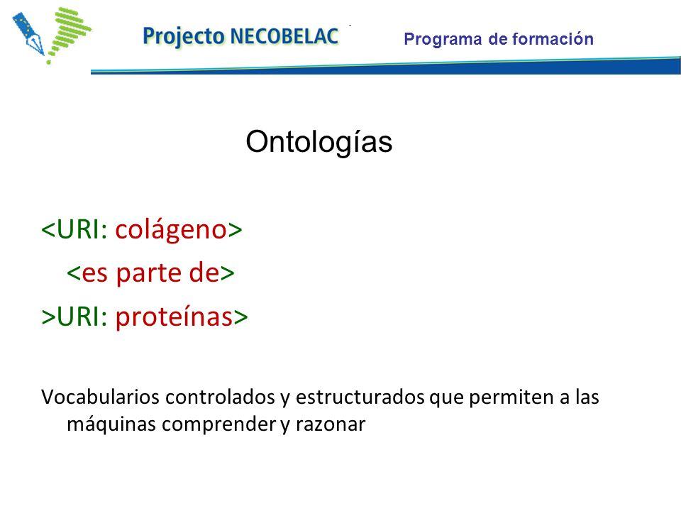 Programa de formación Ontologías >URI: proteínas> Vocabularios controlados y estructurados que permiten a las máquinas comprender y razonar